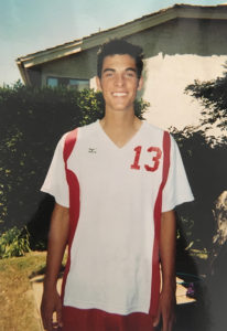 Ryan Bregante prepares for a volleyball match.