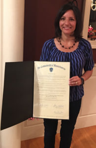 Joanne Burke presents the 2019 Massachusetts Proclamation for X & Y Chromosome Variation Awareness Month